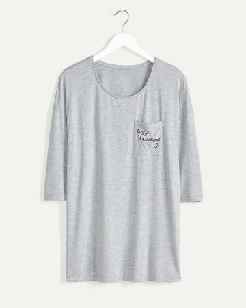 3/4 Sleeve Long Pyjama Tee with Pocket