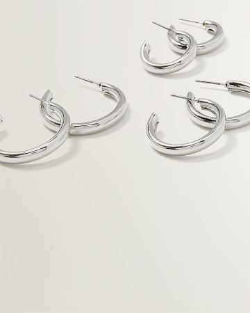 Pack of 3 Tube Hoop Earrings