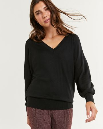 Long Bubble Sleeve V-Neck Sweater