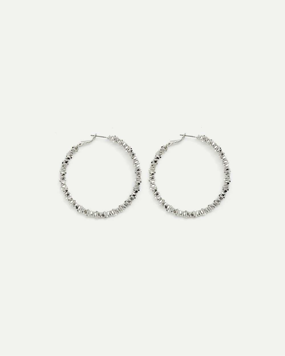 Faceted Metal Beads Hoop Earrings