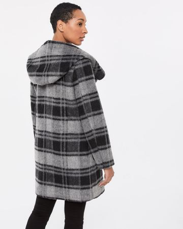 Large Hood Plaid Coat