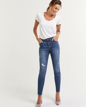 High Rise Skinny Ripped Jeans