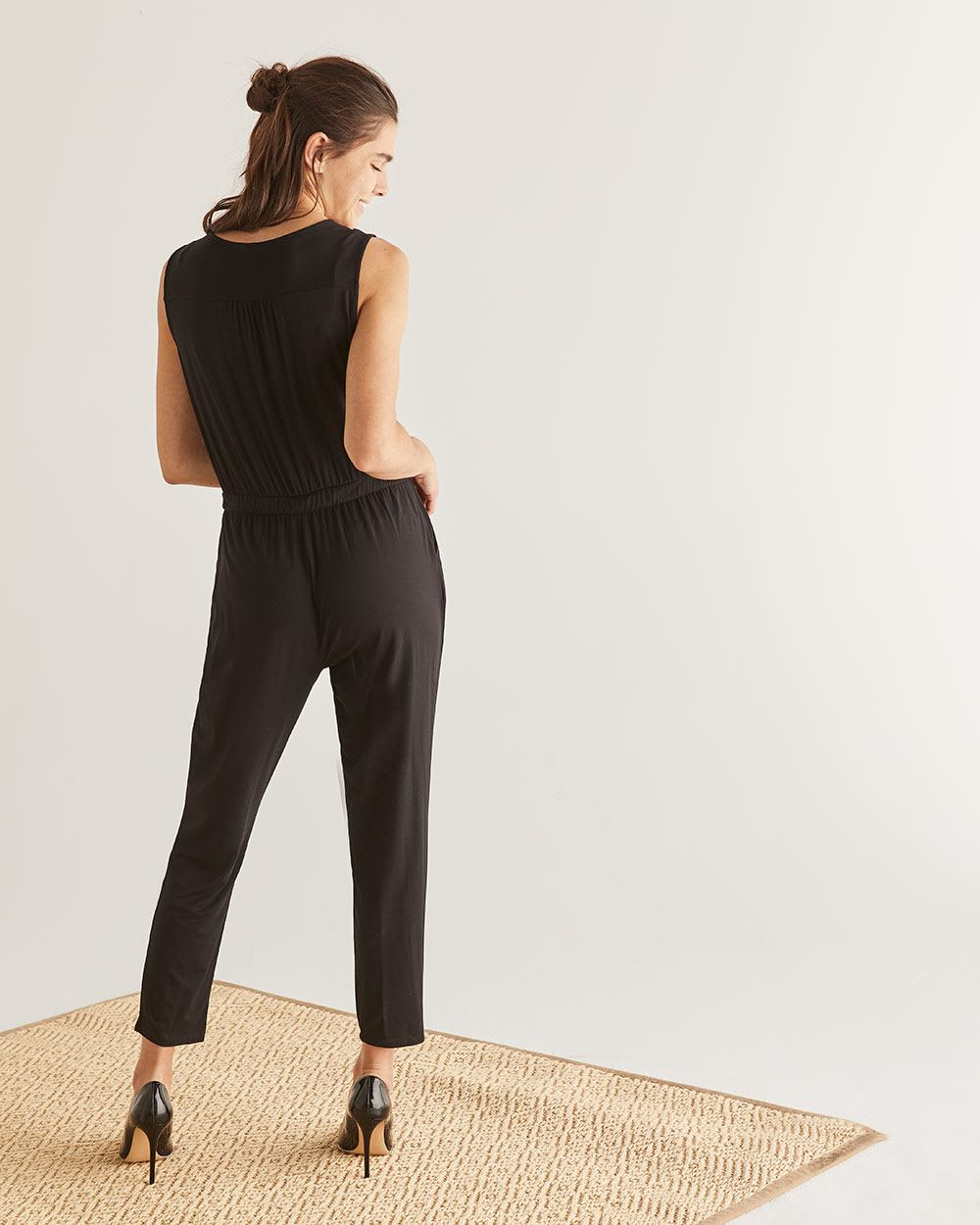 Black Wrap Neck Jumpsuit
