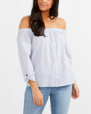 Off-The-Shoulder Floral Cotton Blouse