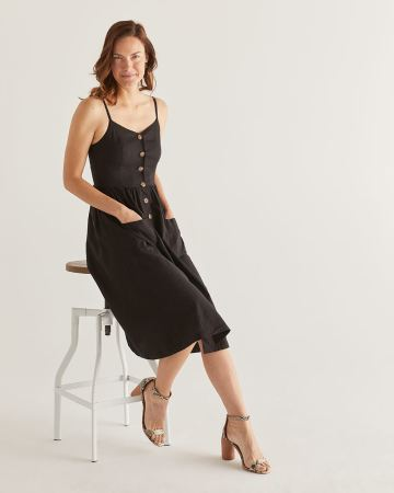 Linen-Blend Fit & Flare Midi Dress - Petite