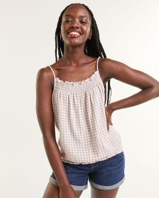 Gingham-Printed Cami With Smocking