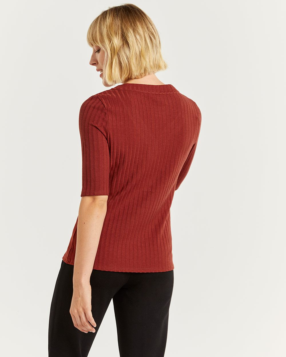 V-Neck Ribbed Tee with Buttons