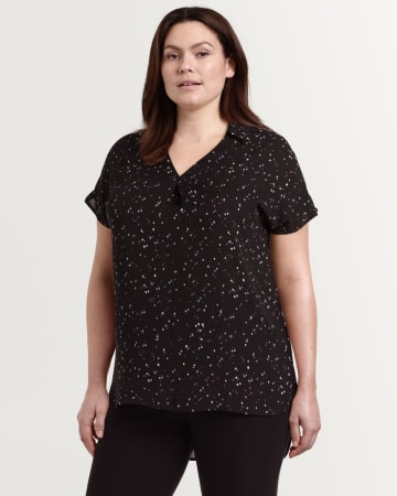 Short Sleeve Printed Tunic with Johnny Collar
