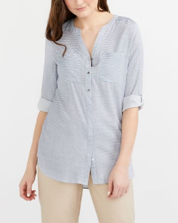 Shirred Detail Printed Tunic Shirt