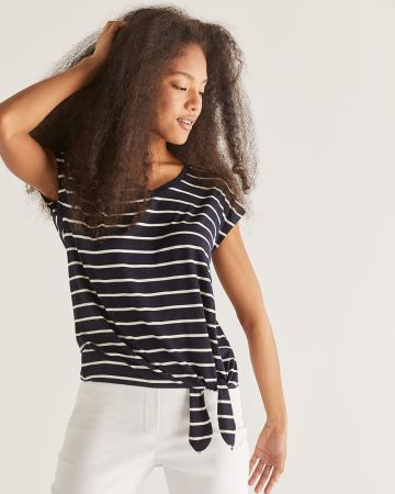 Striped Tee with Front Tie - Petite