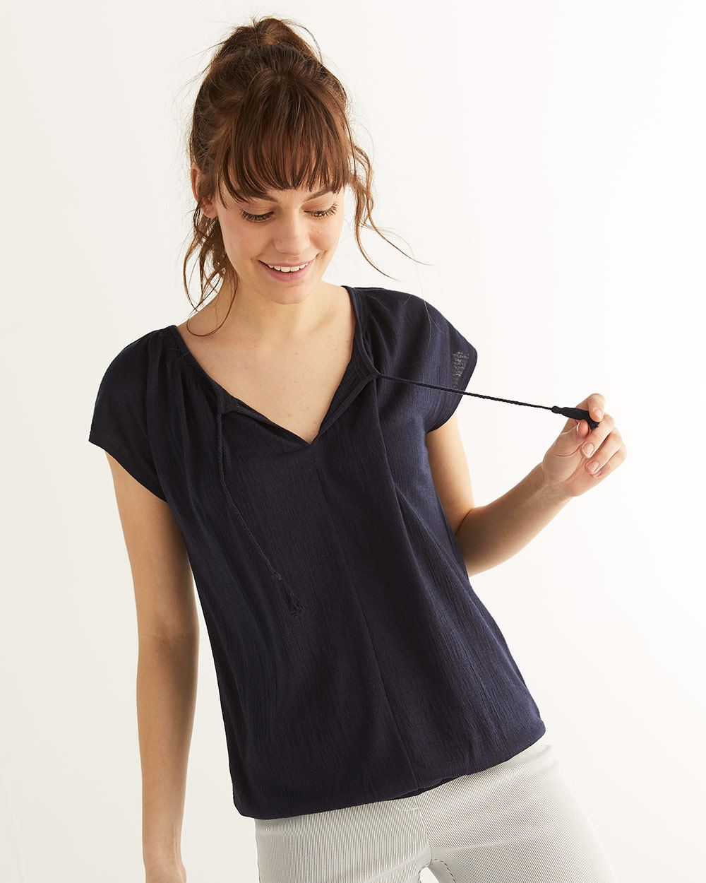 d80e9a7a155 Short Sleeve Top with Tassels