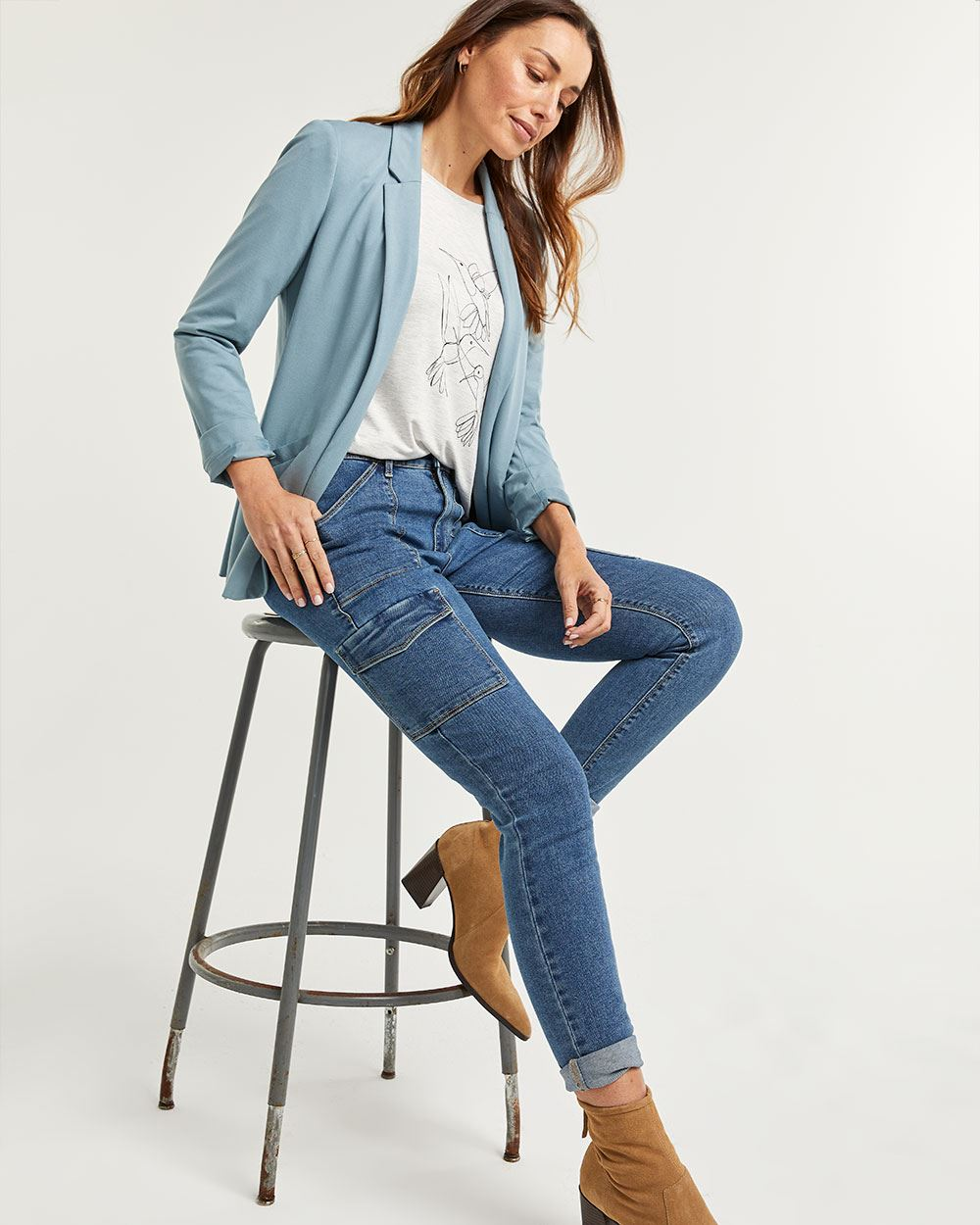 High Rise Cargo Jeans - Petite