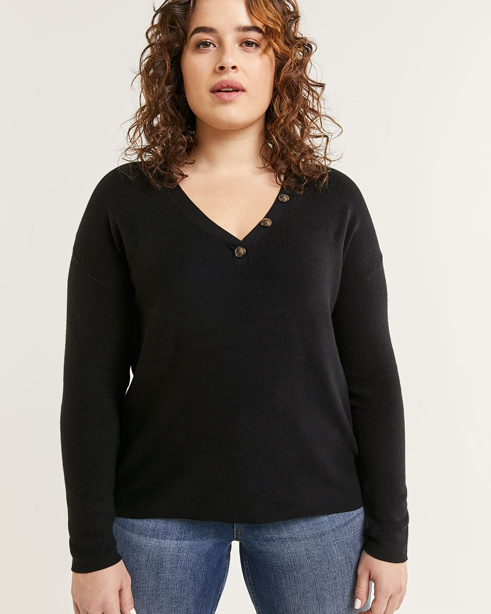 Long Sleeve V-Neck Sweater with Decorative Buttons