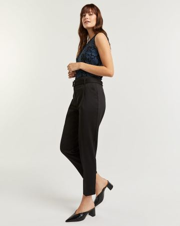 Pleated Tapered Black Pants with Sash