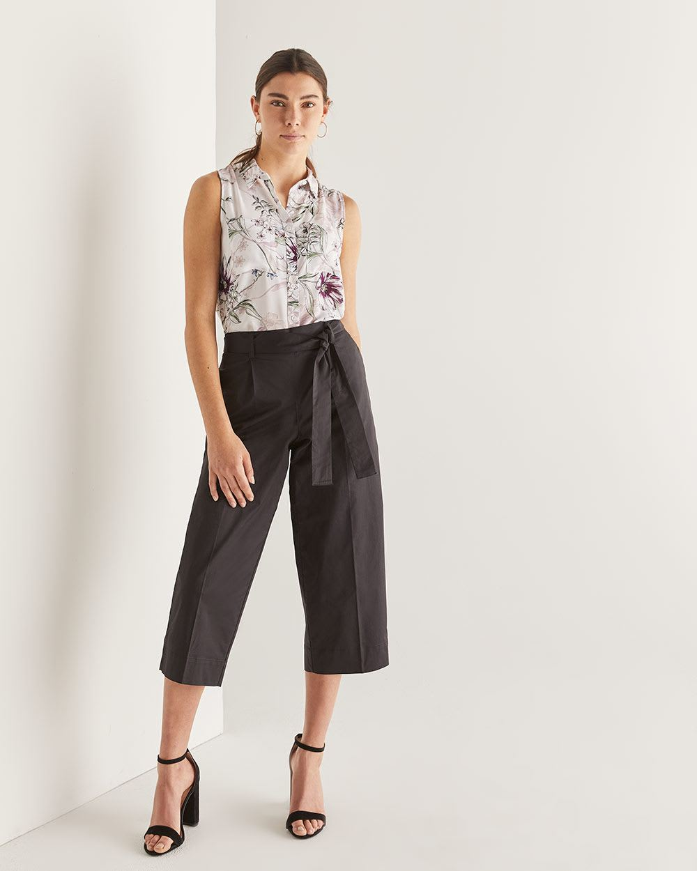 Cotton Wide Leg Cropped Pants