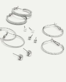 6-Pack Glitter Stud & Hoop Earrings
