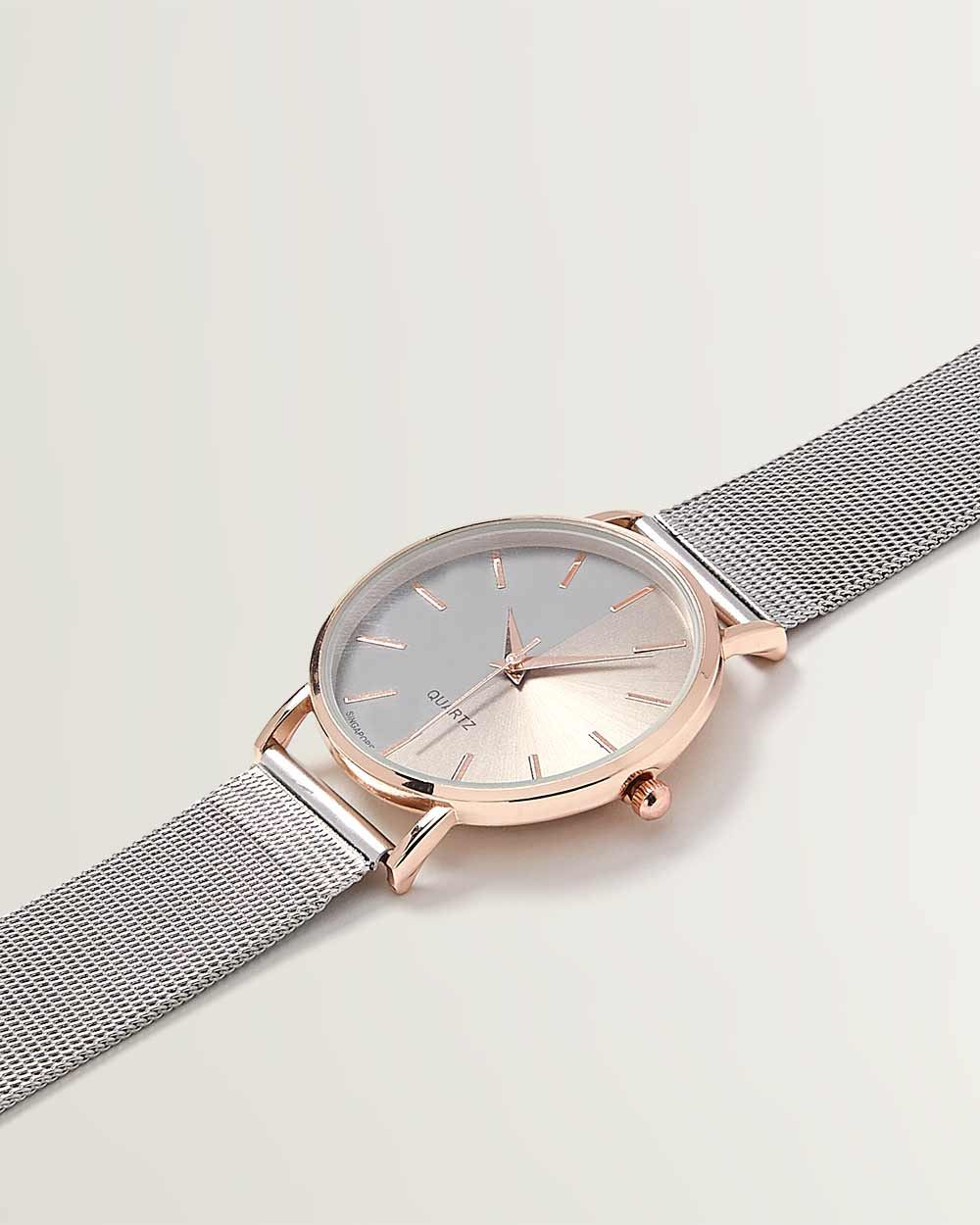 Silver & Rose Gold Watch with Mesh Band