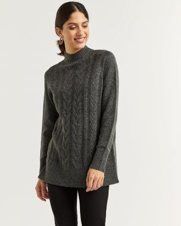 Cable Stitch Mock Neck Sweater with Metallic Detail