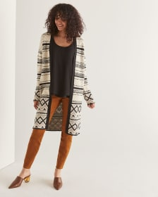 Long Ikat Jacquard Cardigan