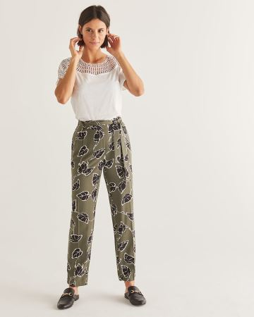 Slim Printed Ankle Pants with Sash