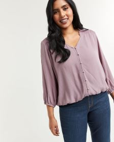 3/4 Sleeve Buttoned-Down Blouse with Smocking