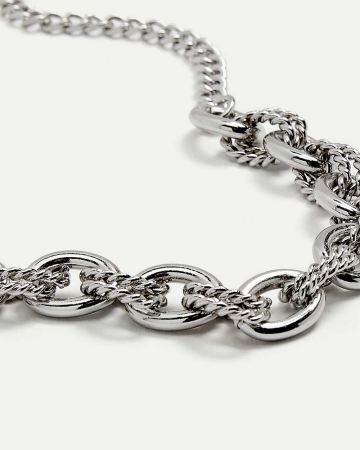 Short Chain Necklace with Textured Links