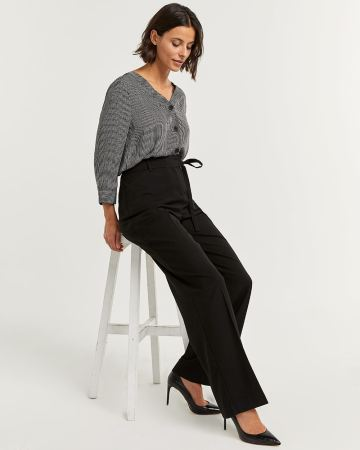 Pantalon noir ample à cordon