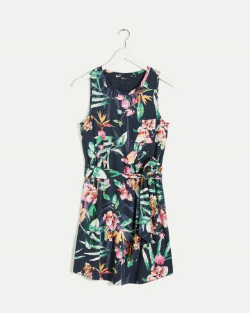 Sleeveless Scoop Neck Printed Dress with Sash