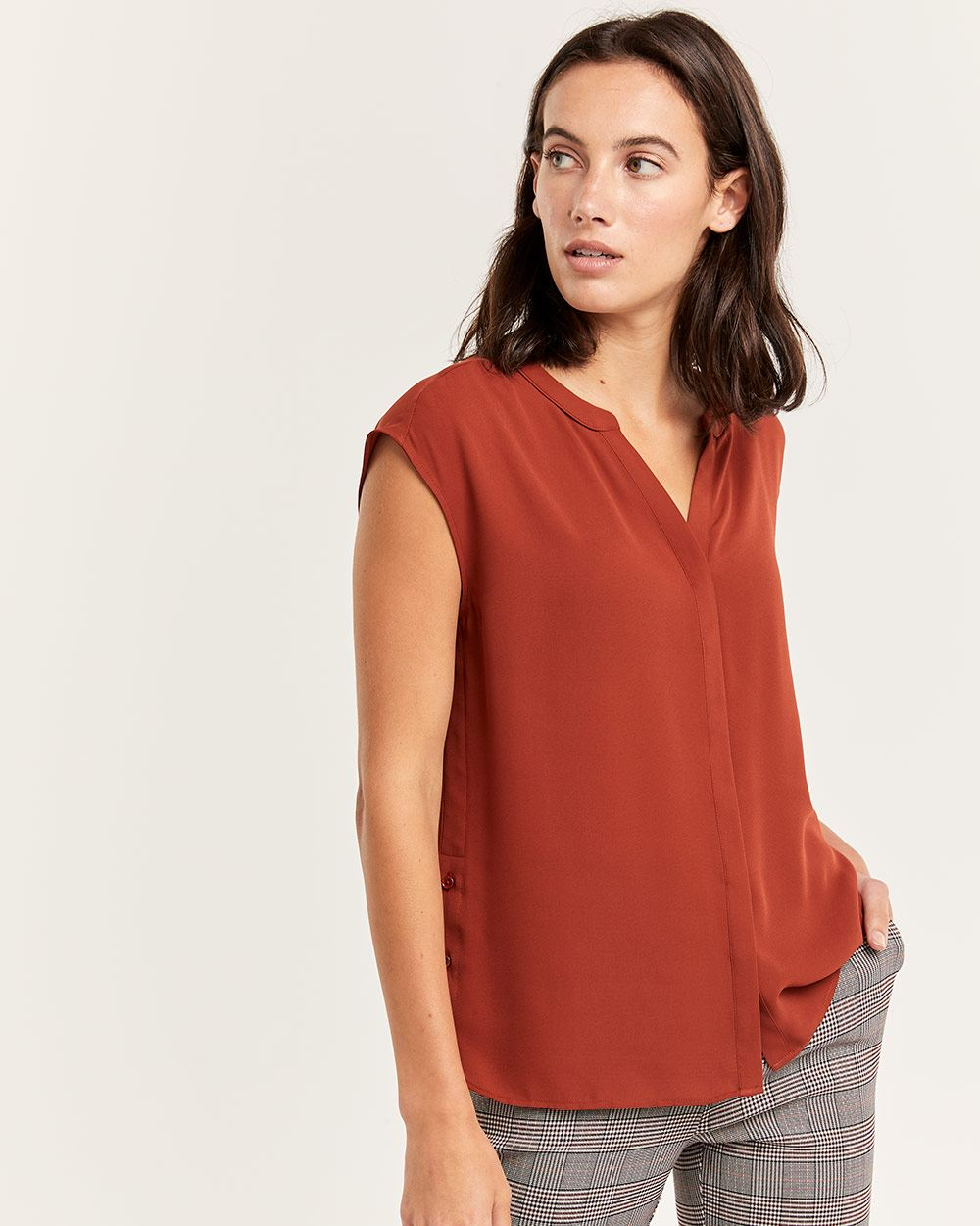 Split Neck Short Sleeve Blouse
