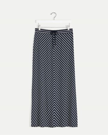 Striped Maxi Skirt with Drawstring