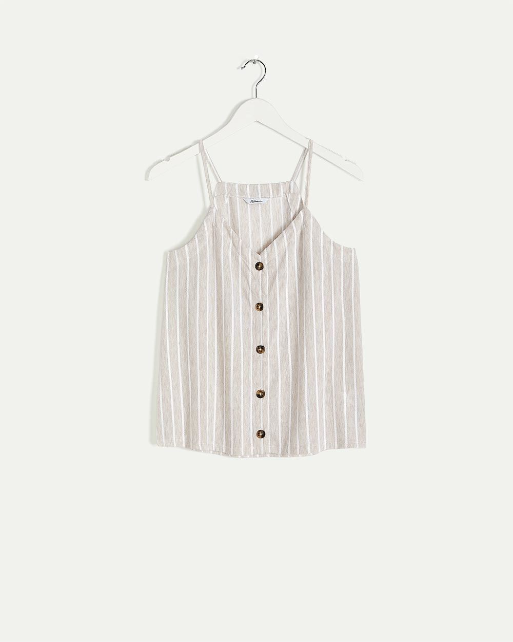 Buttoned-Front Striped Cami