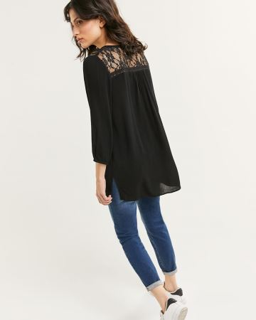3/4 Sleeve Split Neck Tunic with Lace Inserts