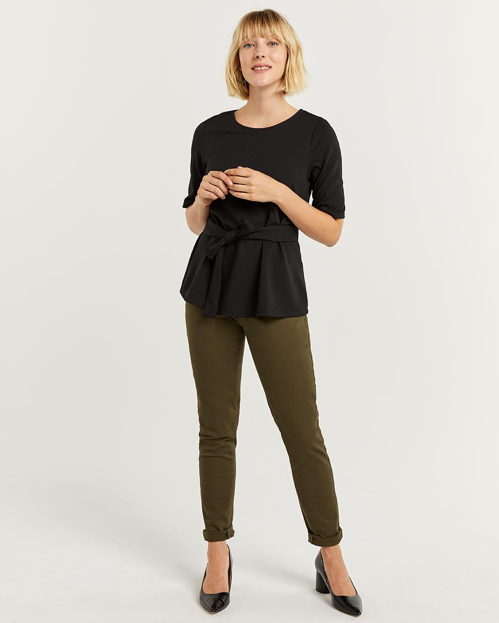 Elbow Sleeve Front Tie Top