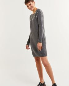 Long Sleeve Boat Neck Sweater Dress with Pearls