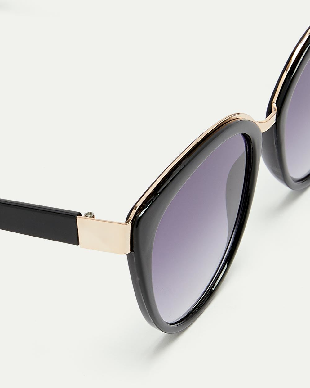 Cat Eye Sunglasses with Gold Accents