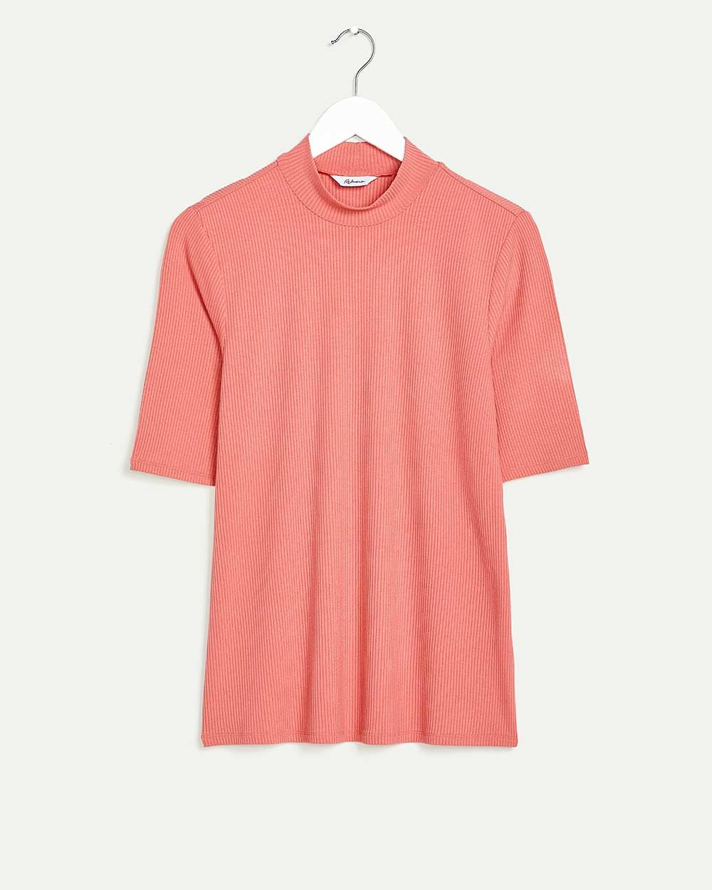 Short Sleeve Mock Neck Ribbed Top