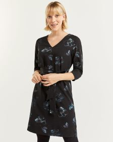 3/4 Sleeve Printed Shift Dress with Sash
