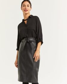Faux Leather Paperbag Waist Skirt