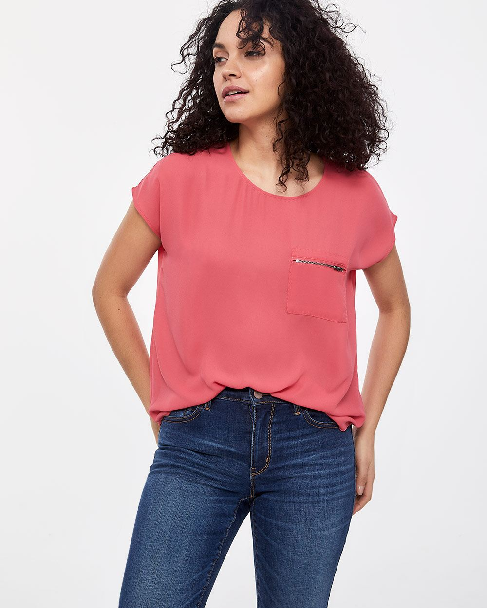 Petite Zippered Pocket Blouse
