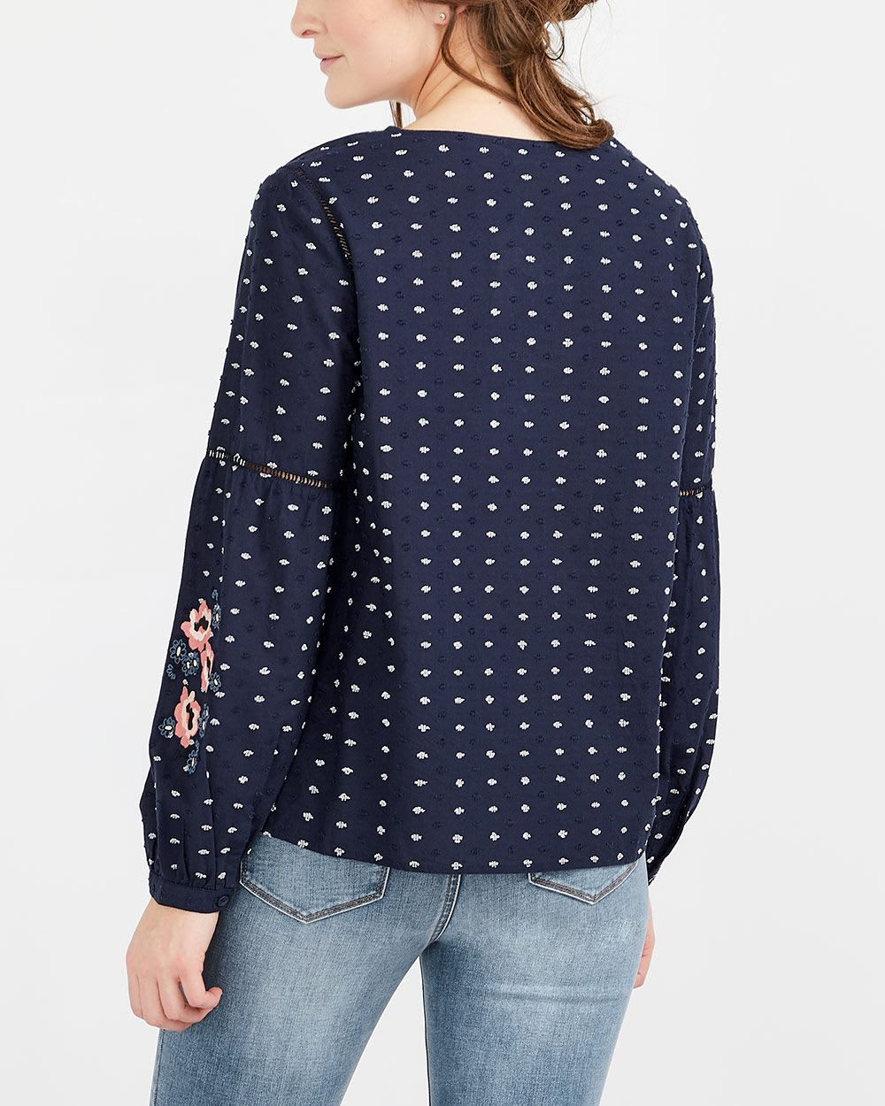Fagotting Detail Puff Sleeve Blouse