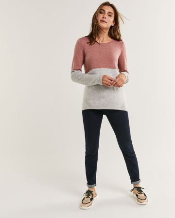 Long Sleeve Crew Neck Cashmere Blend Sweater