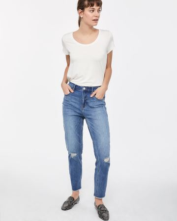 Tall High Rise Frayed Hem Straight Leg Jeans