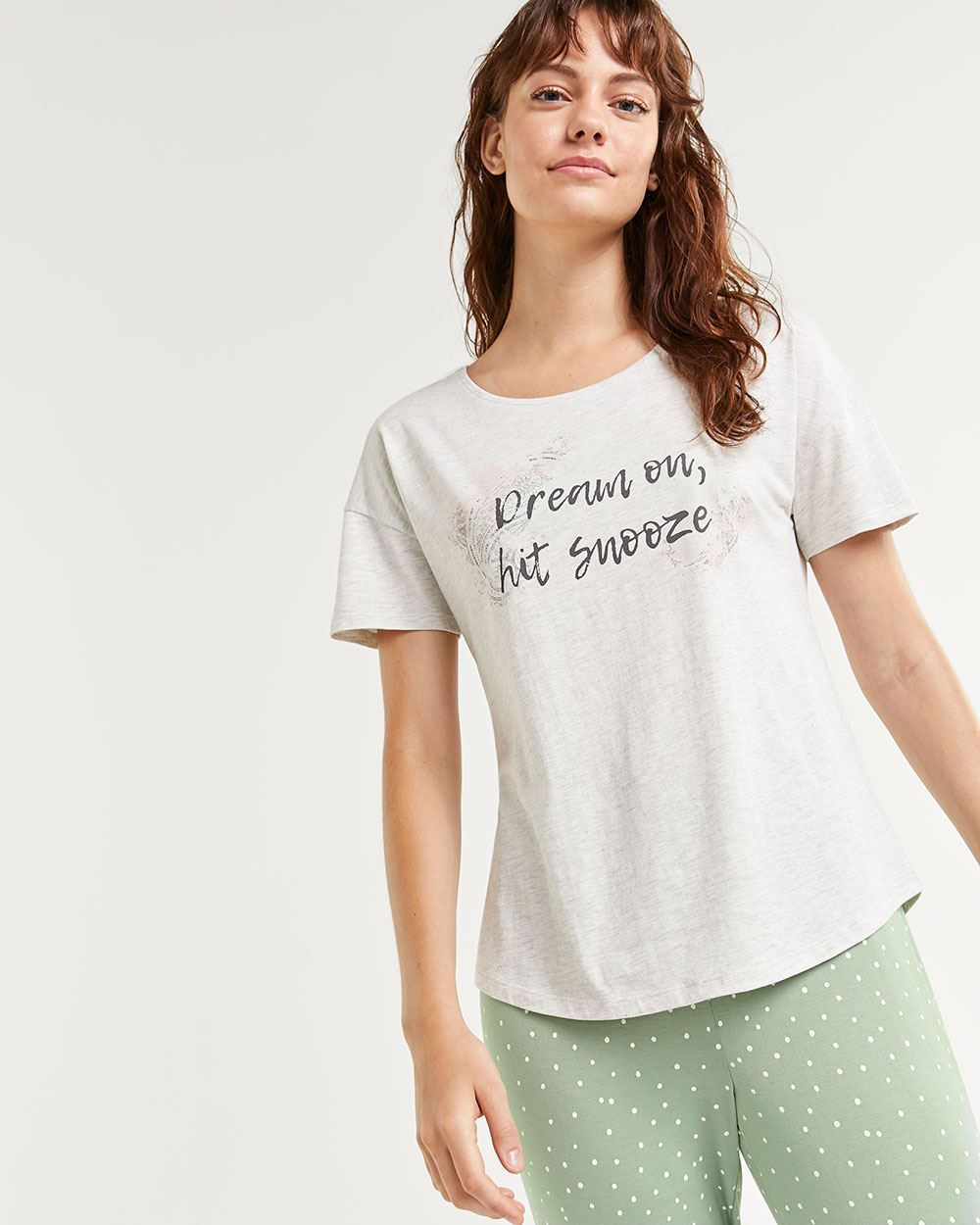 Scoop Neck Printed Pyjama Tee