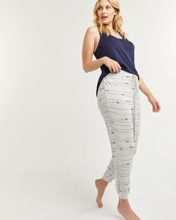 Printed Pyjama Joggers with Drawstring