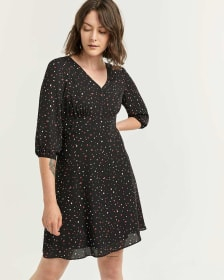 3/4 Sleeve Printed Fit and Flare Dress