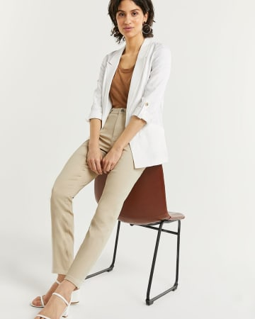Linen-Blend Rolled-Up Sleeve Blazer