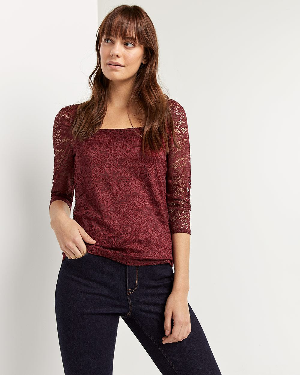 3/4 Sleeve Square Neck Lace Top