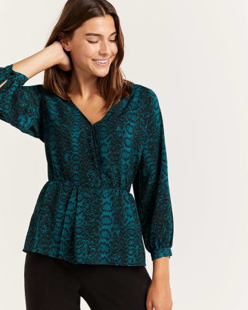 Snake Print Cinched Waist Blouse