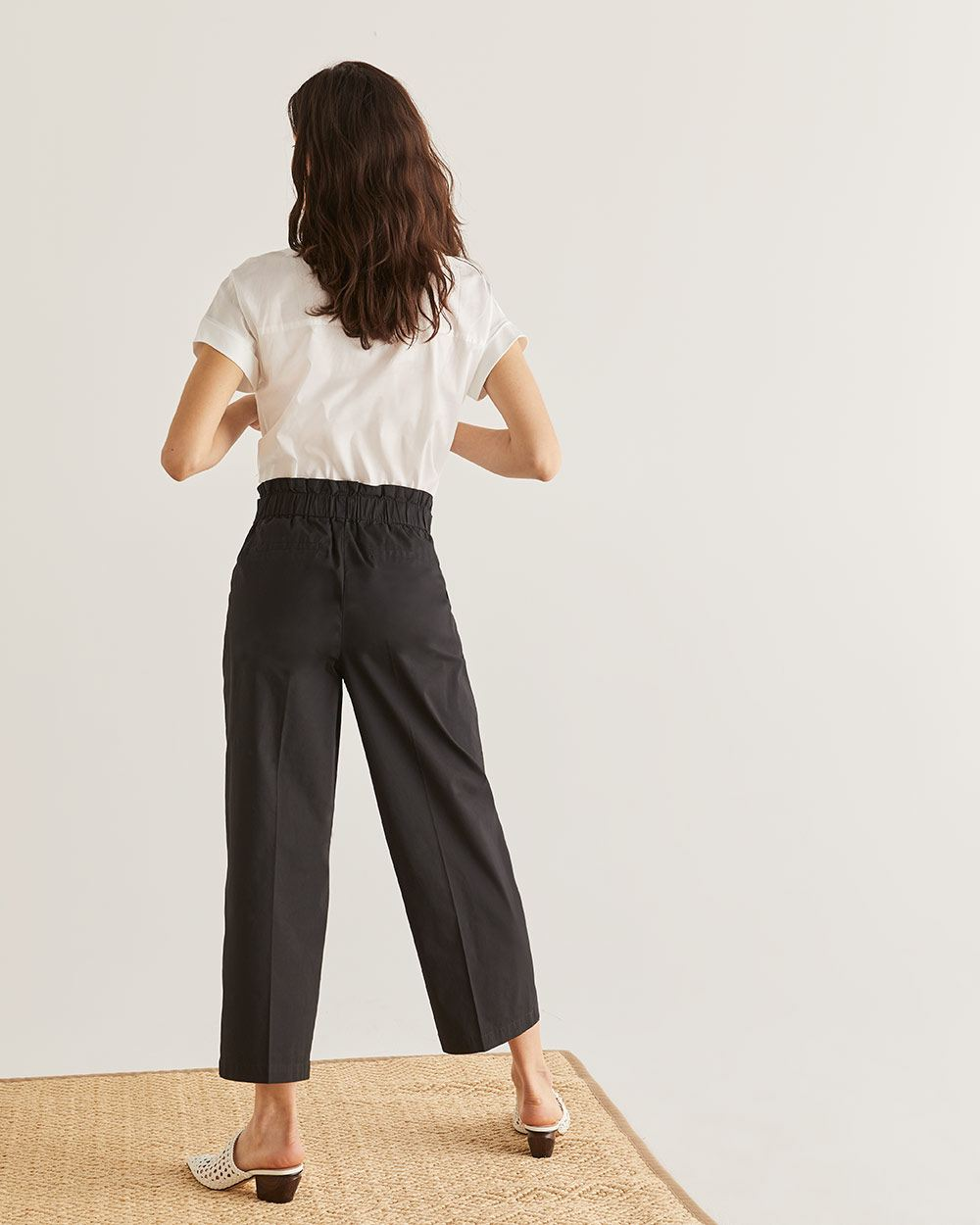 Cotton Wide Leg Ankle Pant - Tall