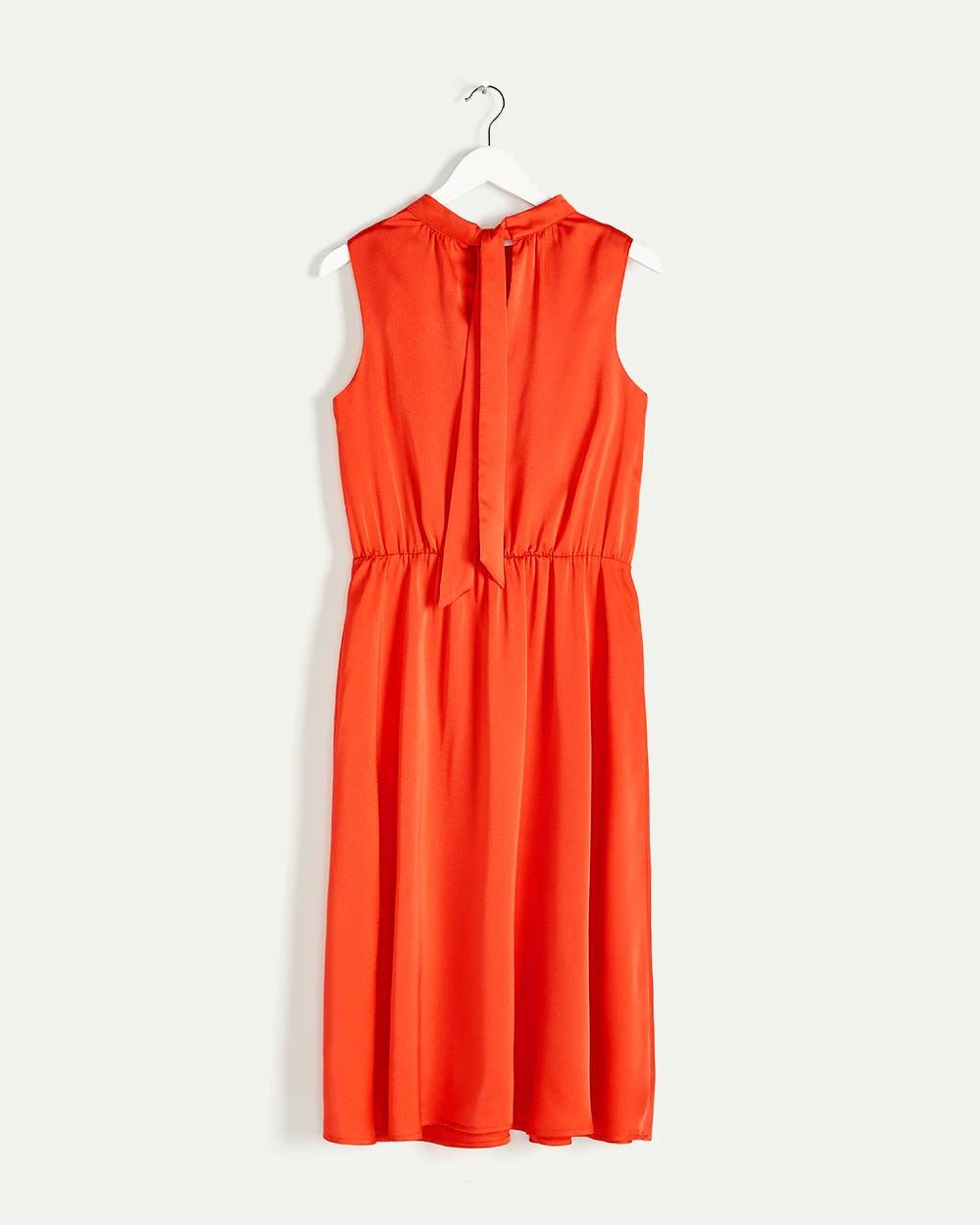 Sleeveless Mock Neck Elastic Waist Midi Dress